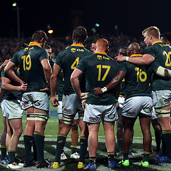 The Springboks huddle during the Rugby Championship match between the New Zealand All Blacks and South Africa Springboks at QBE Stadium in Albany, Auckland, New Zealand on Saturday, 16 September 2017. Photo: Shane Wenzlick / lintottphoto.co.nz