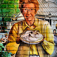 Smiling Mom with Lemon Meringue Pie Mural in Lancaster County, Pennsylvania<br />