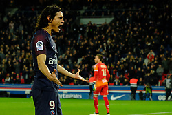 February 17, 2018 - Paris, France - joy of striker CAVANI EDINSON after scoring the fourth goal in the Ligue 1 Championship match of France Paris SG against Strasbourg RC at the Stade des Parc des Princes in Paris - France..Paris SG won 5-2......Paris won 5-2 (Credit Image: © Pierre Stevenin via ZUMA Wire)