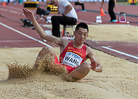 Athletics - 2017 IAAF London World Athletics Championships - Day One<br /> <br /> Event: Men's Long Jump Qualifying<br /> <br /> Jianen Wang (China) lands in the sand <br /> <br /> COLORSPORT/DANIEL BEARHAM