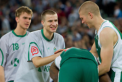 Jan Osolnik, Matej Rojc, Chris Booker and Edo Muric of Krka celebrate after the basketball match between KK Union Olimpija and KK Krka in 4th Round of Final of Slovenian Basketball National Championship, on June 9, 2011 in Arena Stozice, Ljubljana, Slovenia. Krka defeated Union Olimpija 63-61. (Photo By Vid Ponikvar / Sportida.com)