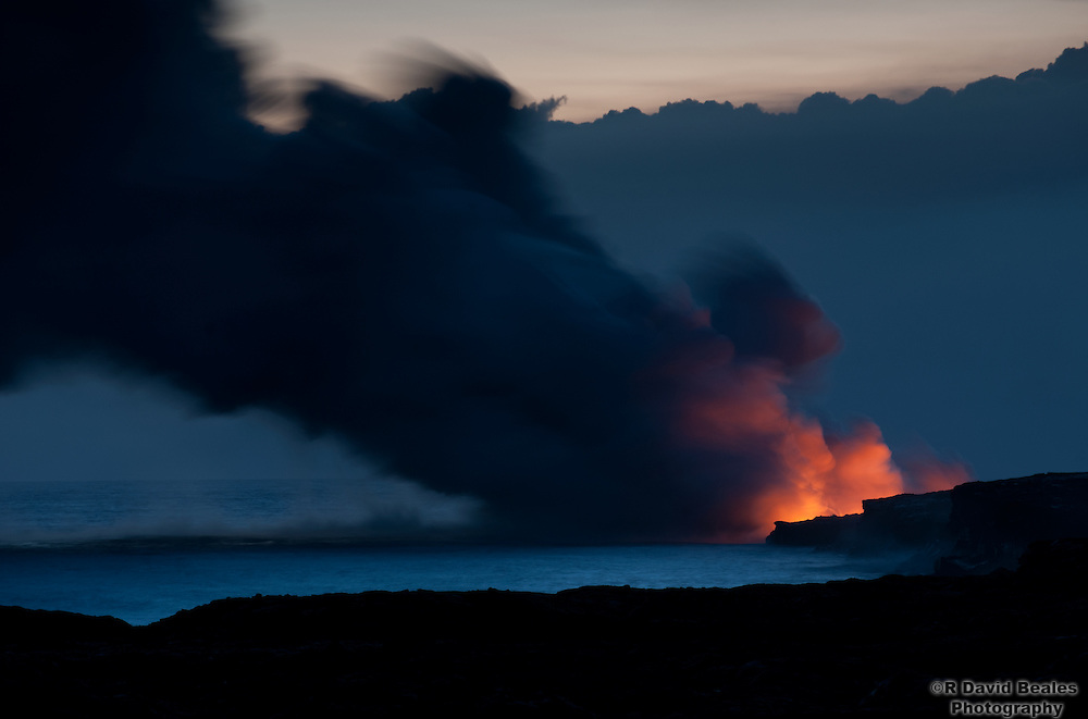 Lava flows into the Pacific Ocean near the town of Kalapana. Big Island, Hawaii