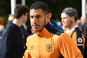Hull City midfielder Jake Livermore (14) arrives at the KCOM stadium before the Premier League match between Hull City and Chelsea at the KCOM Stadium, Kingston upon Hull, England on 1 October 2016. Photo by Ian Lyall.