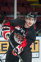 KELOWNA, CANADA - JANUARY 3: Sam Ruopp #2 of Prince George Cougars warms up against the Kelowna Rockets on January 3, 2015 at Prospera Place in Kelowna, British Columbia, Canada.  (Photo by Marissa Baecker/Shoot the Breeze)  *** Local Caption *** Sam Ruopp;