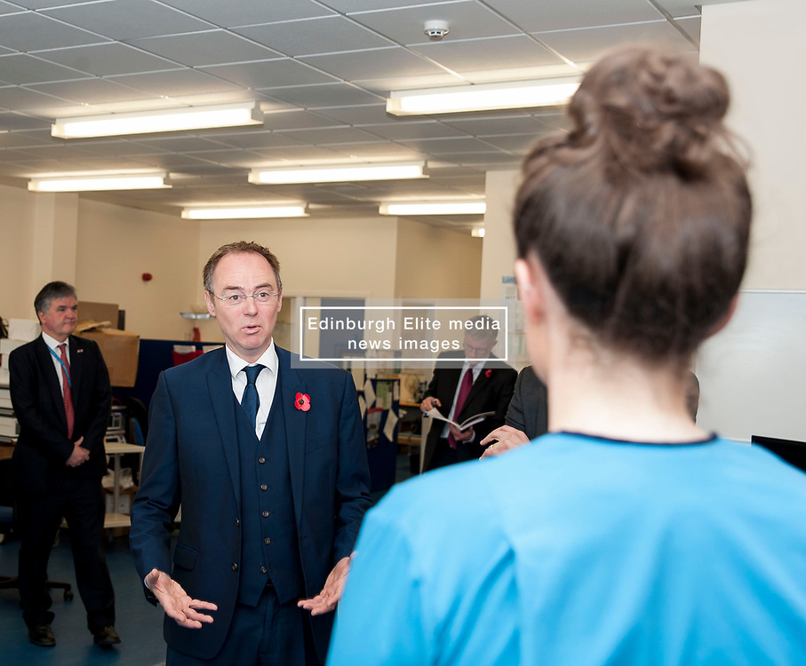 Europe Minister Alasdair Allan MSP toured the Royal Infirmary of Edinburgh to announce the evidence submitted by the Scottish Government on the benefits of EU migrants to the Scottish economy.<br /> <br /> Pictured: Europe Minister Alasdair Allan meets staff from EU countries working in the Medical Physics Department. <br /> <br /> © Dave Johnston/ EEm