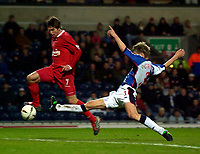 Photo. Jed Wee.<br /> Blackburn Rovers v Liverpool, Carling Cup, Ewood Park, Blackburn. 29/10/03.<br /> Liverpool's Harry Kewell (L) evades the lunge of Blackburn's Vratislav Gresko to score Liverpool's fourth.