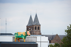 Cows on the roof of an Arnhem office beside the route of Boels Ladies Tour 2018 - Prologue, a 3.3 km time trial in Arnhem, Netherlands on August 28, 2018. Photo by Sean Robinson/velofocus.com