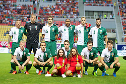SKOPJE, MACEDONIA - Friday, September 6, 2013: Wales' players line up for a team group photograph before the 2014 FIFA World Cup Brazil Qualifying Group A match against Macedonia at the Philip II Arena. Back row L-R: Craig Bellamy, goalkeeper Boaz Myhill, Sam Ricketts, captain Ashley Williams, Jack Collison, Joe Ledley. Front row L-R: Jonathan Williams, David Vaughan, Chris Gunter, Ben Davies, Aaron Ramsey. (Pic by David Rawcliffe/Propaganda)