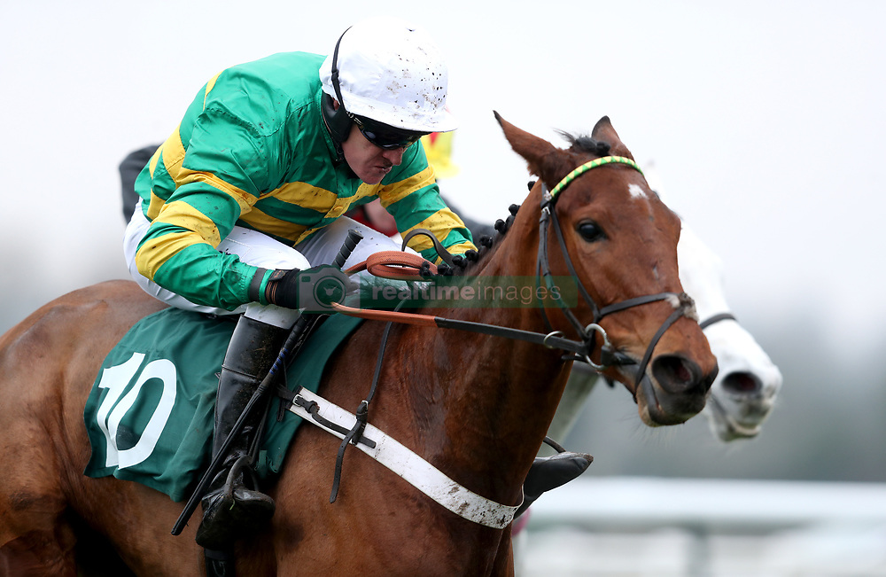 Laskadine ridden by Barry Geraghty on their way to victory in the Racing TV Free For A Month Juvenile Hurdle during Midlands Raceday at Warwick Racecourse.