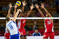 11.09.2014, Centennial Hall, Breslau, POL, FIVB WM, Kuba vs Russland, Gruppe F, im Bild Alexey Spiridonov russia #9 1109 Cuba vs Russia Seb David Fiel Rodriguez cuba #13 Osmany Santiago Uriarte Mestre cuba #20 // Alexey Spiridonov russia #9 1109 Cuba vs Russia Seb David Fiel Rodriguez cuba #13 Osmany Santiago Uriarte Mestre cuba #20 during the FIVB Volleyball Men's World Championships 2nd Round Pool F Match beween Cuba and Russia at the Centennial Hall in Breslau, Poland on 2014/09/11. EXPA Pictures © 2014, PhotoCredit: EXPA/ Newspix/ Sebastian Borowski<br /> <br /> *****ATTENTION - for AUT, SLO, CRO, SRB, BIH, MAZ, TUR, SUI, SWE only*****