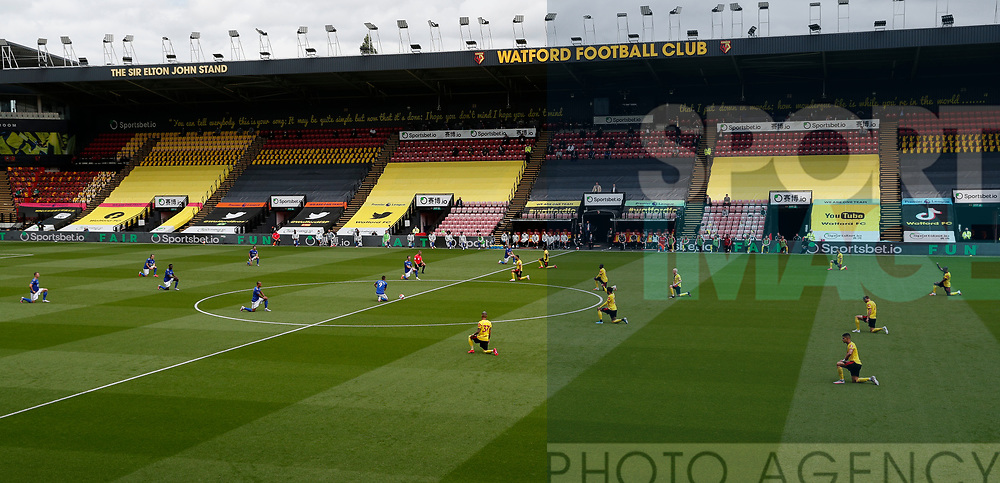 General view of both teams taking the knee in support of the Black Lives Matter campaign during the Premier League match at Vicarage Road, Watford. Picture date: 20th June 2020. Picture credit should read: Darren Staples/Sportimage