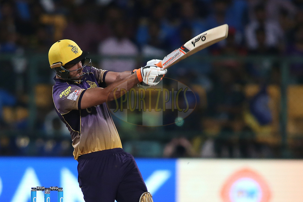 Nathan Coulter-Nile of the Kolkata Knight Riders pulls delivery for six during the 2nd qualifier match of the Vivo 2017 Indian Premier League between the Mumbai Indians and the Kolkata Knight Riders held at the M.Chinnaswamy Stadium in Bangalore, India on the 19th May 2017<br /> <br /> Photo by Shaun Roy - Sportzpics - IPL