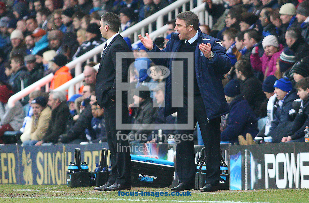 Picture by Rob Fisher/Focus Images Ltd +44 7545 398891.23/02/2013.Darren Ferguson, manager of Peterborough United and Lee Clark, manager of Birmingham City during the npower Championship match at London Road, Peterborough.