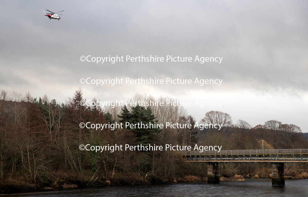 Searches continue in River Tay following concern for man in water, Perth&hellip;.20.12.16<br />Police, Coastguard helicopter and Firefighters in Perth searching the River Tay after a report of a man in the water at about 9.05pm yesterday evening (19.12.16) The man is believed to be vulnerable missing 20-year-old Iain Guthrie from Perth who was reported missing at 9.50pm last night..<br />Picture by Graeme Hart.<br />Copyright Perthshire Picture Agency<br />Tel: 01738 623350  Mobile: 07990 594431