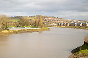 River Use at high level after heavy rain, Newport, South Wales, UK - approaching bankfull discharge