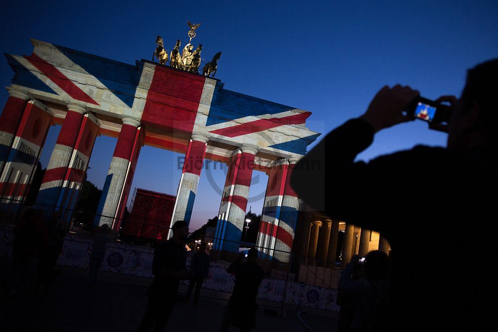 Berlin, Germany - 04.06.2017<br /> <br /> In memory of the victims of terror attacks in London, the British flag was projected onto the Brandenburg Gate in Berlin. Berlin is a twin town of London.<br /> <br /> In Gedenken a die Opfer der Terrorattacke von London wurde die britische Flagge auf das Brandenburger Tor projiziert. Berlin ist eine Partnerstadt von London.<br /> <br /> Photo: Bjoern Kietzmann