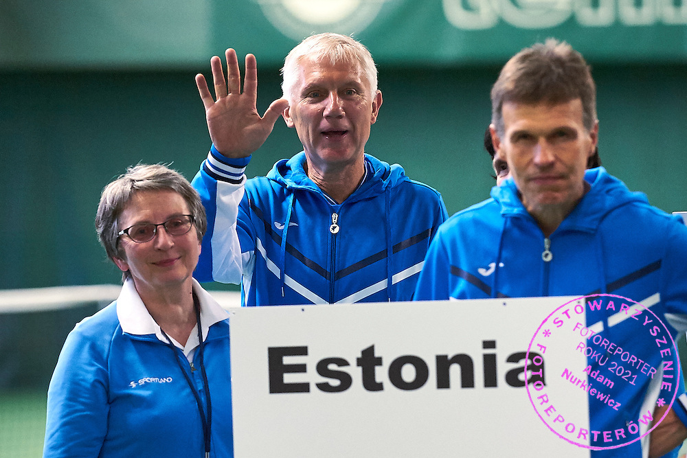 Helsinki, Finland - 2016 June 25: Estonia's team walk while opening ceremony during 36th ITF Seniors World Individual Championships 2016 at Talin Tenniskeskus on June 25, 2016 in Helsinki, Finland.<br /> <br /> Adam Nurkiewicz declares that he has no rights to the image of people at the photographs of his authorship.<br /> <br /> Picture also available in RAW (NEF) or TIFF format on special request.<br /> <br /> Any editorial, commercial or promotional use requires written permission from the author of image.<br /> <br /> Mandatory credit:<br /> Photo by &copy; Adam Nurkiewicz