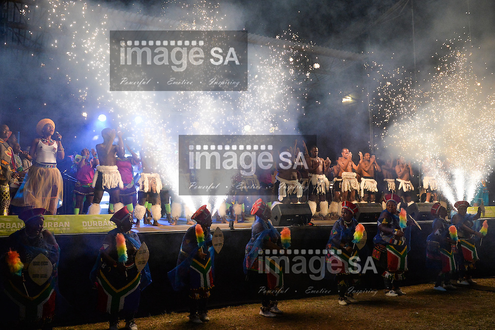 DURBAN, SOUTH AFRICA - JUNE 21: fireworks goes off as traditional dancers and performers sing on stage during the CAA 20th African Senior Championships Opening Ceremony at Growth Point Kings Park stadium on June 21, 2016 in Durban, South Africa. (Photo by Roger Sedres/Gallo Images)