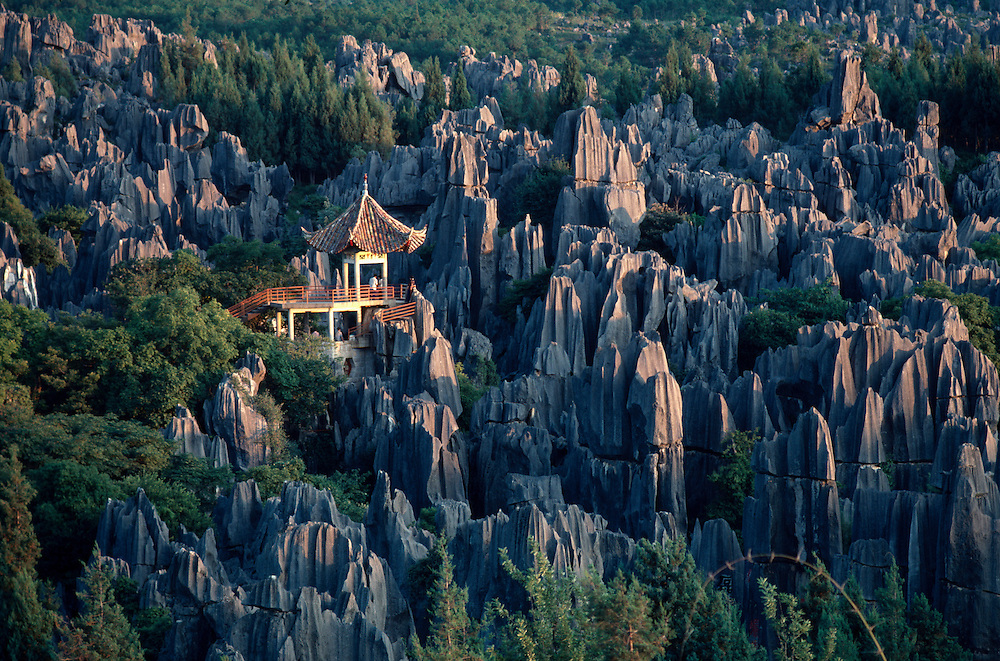 Pavilion at the Stone Forest near Shilin, China