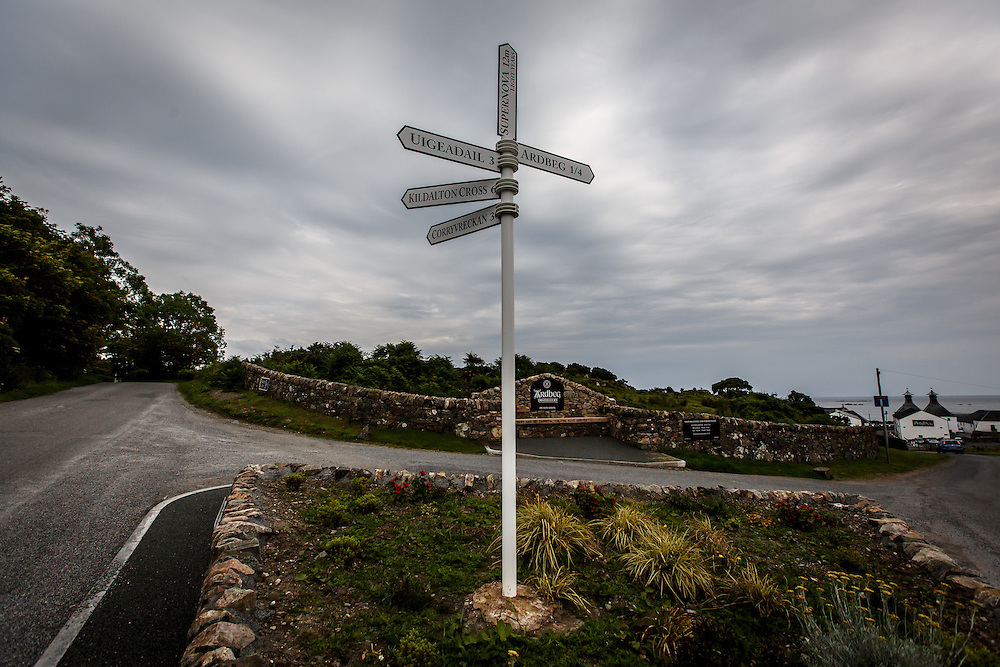 Road signs at Ardbeg Distillery in Port Ellen, Isle of Islay, Scotland, July 15, 2015. Gary He/DRAMBOX MEDIA LIBRARY