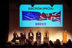 © Licensed to London News Pictures. 02/05/2017. London, UK. Lead claimant in the Article 50 legal case GINA MILLER taking part in a discussion titled How to Brexit: The Best Deal for Britain, hosted by the The how to: Academy, in West London. Also on the panel is STANLEY JOHNSON, father of Boris Johnson.Photo credit: Ben Cawthra/LNP