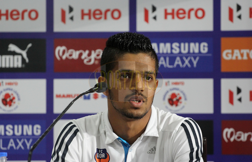 Mandar Rao Dessai of FC Goa during the press conference of  match 46 of the Hero Indian Super League between FC Goa and North East United FC held at the Jawaharlal Nehru Stadium, Fatorda, India on the 1st December 2014.<br /> <br /> Photo by:  Vipin Pawar/ ISL/ SPORTZPICS