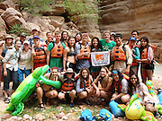 Eastwood Academy students Vanesa Escobar (middle, holding the banner), Marycarmen Lopez, (far right, standing), Ulises Ramirez (in the back to the left of Carmen) and Sharpstown High School's Jennifer Gonzales (far right, sitting) in Leading the Way at the Grand Canyon.