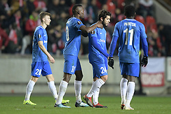 February 14, 2019 - Prague, CZECH REPUBLIC - Genk's Aly Mbwana Samatta and Genk's Alejandro Pozuelo pictured after a soccer game between Czech club SK Slavia Praha and Belgian team KRC Genk, the first leg of the 1/16 finals (round of 32) in the Europa League competition, Thursday 14 February 2019 in Prague, Czech Republic. BELGA PHOTO YORICK JANSENS (Credit Image: © Yorick Jansens/Belga via ZUMA Press)