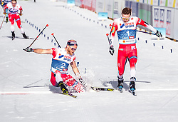03.03.2019, Seefeld, AUT, FIS Weltmeisterschaften Ski Nordisch, Seefeld 2019, Langlauf, Herren, 50 km Massenstart, im Bild Martin Johnsrud Sundby (NOR), Sjur Roethe (NOR) // Martin Johnsrud Sundby of Norway Sjur Roethe of Norway during the men's cross country 50 km mass start competition of FIS Nordic Ski World Championships 2019. Seefeld, Austria on 2019/03/03. EXPA Pictures © 2019, PhotoCredit: EXPA/ JFK