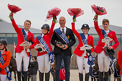 Team Belgium, Van Massenhove Jordy, D Have Lynn, Peeters Leonie, Van Gelderen Boy-Adriaan, Deraedt Rik<br /> Class 16 Nations Cup YR<br /> International Competition CSIO Young Riders Opglabbeek 2016<br /> © Dirk Caremans