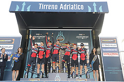 March 7, 2018 - Lido Di Camaiore, ITALY - BMC Racing Team riders celebrate on the podium after winning the first stage of the 53rd edition of the Tirreno-Adriatico cycling race, a team time trial of 21,5km from and to Lido di Camaiore, Wednesday 07 March 2018, Italy. ..BELGA PHOTO YUZURU SUNADA (Credit Image: © Yuzuru Sunada/Belga via ZUMA Press)