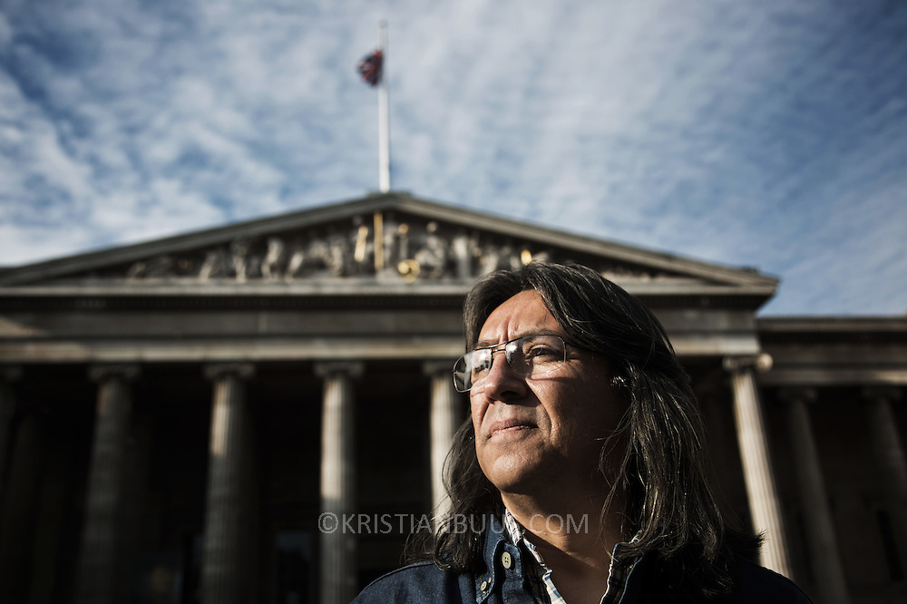 Gilberto Torres, photographed outside the British Museum. Gilberto Torres, a unionist from Colombia , is taking BP to court over his kidnap and torture in Colombia in 2002 when he was a union representative.