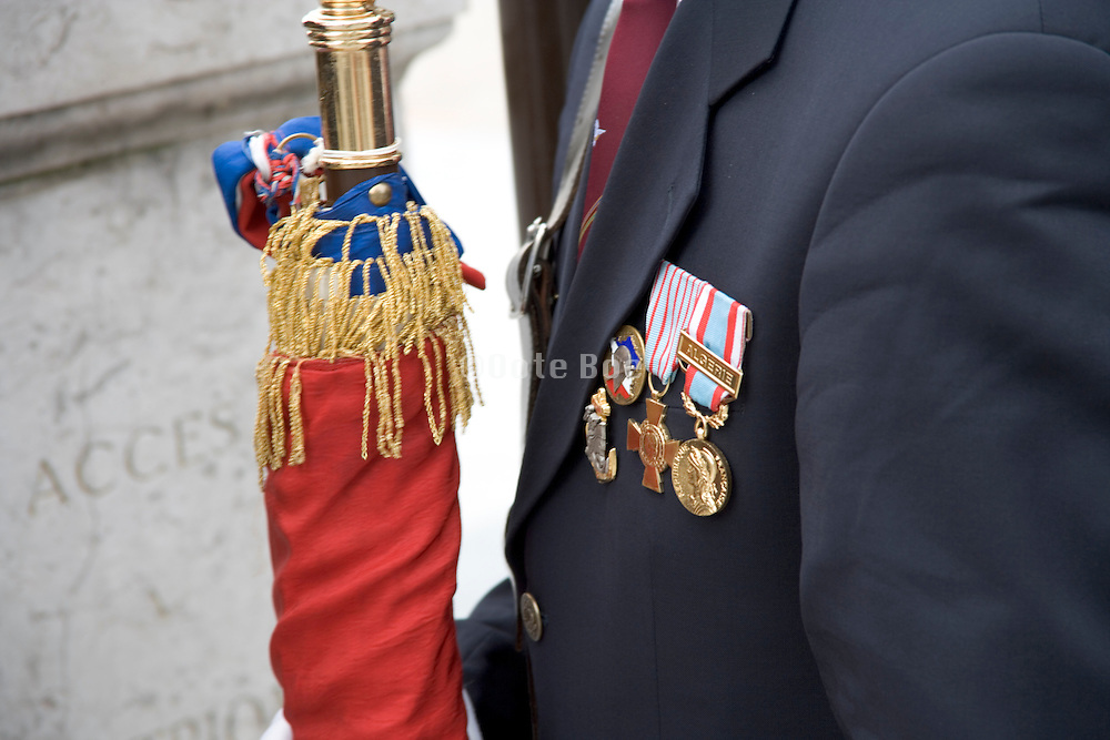 France legionair at a memorial parade by the Arc de Triomphe Paris
