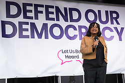 London, UK. 4 September, 2019. Diane Abbott, Shadow Home Secretary, addresses Remain supporters at a Defend Our Democracy rally in Parliament Square shortly after MPs passed the Brexit delay bill in the House of Commons.