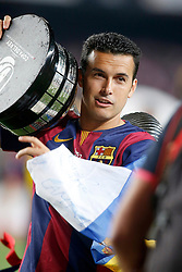 30.05.2015, Camp Nou, Barcelona, ESP, Copa del Rey, Athletic Club Bilbao vs FC Barcelona, Finale, im Bild FC Barcelona's Pedro Rodriguez celebrates the victory // during the final match of spanish king's cup between Athletic Club Bilbao and Barcelona FC at Camp Nou in Barcelona, Spain on 2015/05/30. EXPA Pictures © 2015, PhotoCredit: EXPA/ Alterphotos/ Acero<br /> <br /> *****ATTENTION - OUT of ESP, SUI*****
