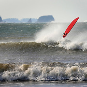 A surfboard shoots into the air as its rider is swallowed by a wave at Hobuck Beach on the Makah Indian Reservation on Sunday October 26, 2008.  (Photo/Seattle Post-Intelligencer/Joshua Trujillo)..
