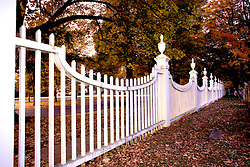The fence surrounding the Old First Church of Bennington at dusk, autumn, Bennington, New England,Vermont, USA