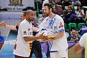 DESCRIZIONE : Campionato 2014/15 Dinamo Banco di Sardegna Sassari - Umana Reyer Venezia<br /> GIOCATORE : Phil Goss Manuel Vanuzzo<br /> CATEGORIA : Fair Play Before Pregame<br /> SQUADRA : Dinamo Banco di Sardegna Sassari<br /> EVENTO : LegaBasket Serie A Beko 2014/2015<br /> GARA : Dinamo Banco di Sardegna Sassari - Umana Reyer Venezia<br /> DATA : 03/05/2015<br /> SPORT : Pallacanestro <br /> AUTORE : Agenzia Ciamillo-Castoria/L.Canu