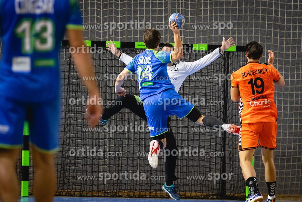 Sebastian Skube of Slovenia versus Gerrie Eijlers of Nederland during friendly handball match between Slovenia and Nederland, on October 25, 2019 in Športna dvorana Hardek, Ormož, Slovenia. Photo by Blaž Weindorfer / Sportida