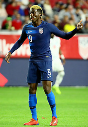 January 27, 2019 - Glendale, AZ, U.S. - GLENDALE, AZ - JANUARY 27: United States of America forward Gyasi Zardes (9) gives a thumbs up during the international friendly between the United States Men's National Team and Panama on January 27th, 2019 at State Farm Stadium in Glendale, AZ (Photo by Adam Bow/Icon Sportswire) (Credit Image: © Adam Bow/Icon SMI via ZUMA Press)