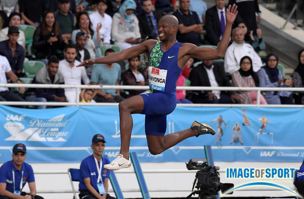 Jun 16, 2019; Rabat, Morocco; Luvo Manyonga (RSA) places second in the long jump at 26-11 1/4 (8.21m) during the Meeting International Mohammed VI d'Athletisme de Rabat at Prince Moulay Abdellah Stadium.
