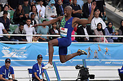 Jun 16, 2019; Rabat, Morocco; Luvo Manyonga (RSA) places second in the long jump at 26-11 1/4 (8.21m) during the Meeting International Mohammed VI d'Athletisme de Rabat at Prince Moulay Abdellah Stadium.