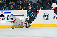 KELOWNA, CANADA - DECEMBER 5: Tyson Baillie #24 of Kelowna Rockets skates with the puck against the Prince George Cougars on December 5, 2014 at Prospera Place in Kelowna, British Columbia, Canada.  (Photo by Marissa Baecker/Shoot the Breeze)  *** Local Caption *** Tyson Baillie;