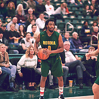 4th year guard, Greishe Clerjuste (0) of the Regina Cougars during the Men's Basketball Home Game on Sat Feb 02 at Centre for Kinesiology,Health and Sport. Credit: Arthur Ward/Arthur Images