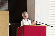 """13th Biennale of Architecture..Giardini..Austrian Pavillion..Wolfgang Tschapeller, Rens Veltman, Martin Perktold, """"hands have no tears to flow..."""", 2012..Opening ceremony..Minister of Culture Claudia Schmied after her speech."""