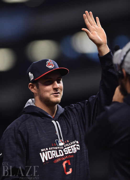 Oct 25, 2016; Cleveland, OH, USA; Cleveland Indians pitcher Trevor Bauer is introduced before game one of the 2016 World Series against the Chicago Cubs at Progressive Field. Mandatory Credit: Ken Blaze-USA TODAY Sports