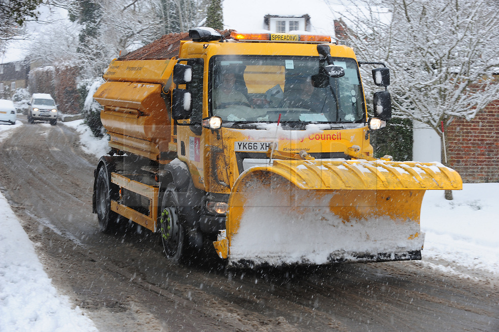 © Licensed to London News Pictures.27/02/2018<br /> TROTTISCLIFE, UK.<br /> A snow plough in the village of TROTTISCLIFE in Kent.<br /> Photo credit: Grant Falvey/LNP