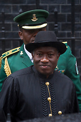 © Licensed to London News Pictures. 11/02/2013. London, UK. The Nigerian President, Goodluck Jonathan, is seen leaving Number 10 Downing Street in London today (11/02/13) after meeting with the British Prime Minister David Cameron. The Downing Street visit came during a trip to Europe where Mr Jonathan also met with French President Francois Hollande to discuss the ongoing deployment of Nigerian and ECOWAS troops to Mali in support of the current military action against insurgents. Photo credit: Matt Cetti-Roberts/LNP