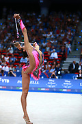 Ashram Linoy during final at clubs in Pesaro World Championships at Adriatic Arena on September 01, 2017. Linoy is an Isrlaelian rhythmic gymnastics athlete born on May 13,1999 in Tel Aviv. Her targhet is to win Israel's first Olympic rhythmic gymnastics medal at the 2020 Olympic Games in Tokyo.