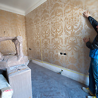 Ing Damiano De Michielis of Hotel Gritti restorations projects shows a tapestry identical to the one of the Fenice Teatre being used in one of the suites of the hotel..Several major restoration works are being carried out in this period in Venice, the go to a complete refurbishment of the famous Gritti Palace Hotel, to transformation into a luxury VIP 7 stars hotel of XV century Palazzo Papadopoli to the restoration of the Church of the Gesuiti